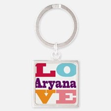 I Love Aryana Square Keychain