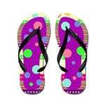Colorful Polka Dots and Stripes Flip Flops