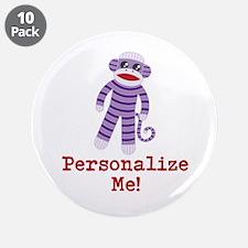 """Purple Sock Monkey 3.5"""" Button (10 pack)"""