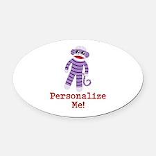 Purple Sock Monkey Oval Car Magnet