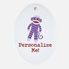 Purple Sock Monkey Ornament (Oval)