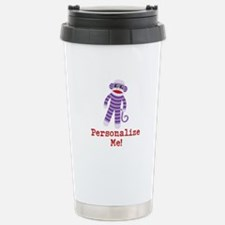 Purple Sock Monkey Stainless Steel Travel Mug