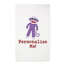 Purple Sock Monkey 3'x5' Area Rug