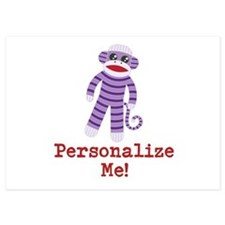 Purple Sock Monkey Invitations