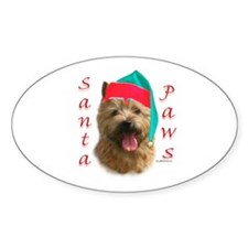 Santa Paws Norwich Terrier Oval Decal