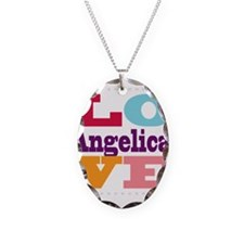 I Love Angelica Necklace Oval Charm