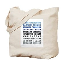 Australian Cities Blue Tote Bag