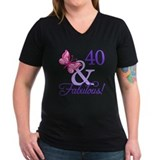 40 and fabulous butterfly Womens V-Neck T-shirts (Dark)