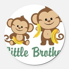 Little Brother To Be Monkey Round Car Magnet