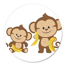 Little Monkeys Round Car Magnet