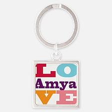 I Love Amya Square Keychain