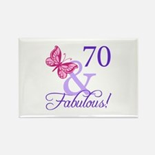 70 And Fabulous Rectangle Magnet (10 pack)