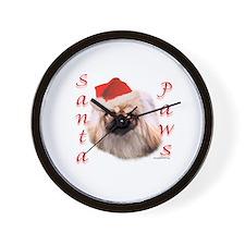 Santa Paws Pekingese Wall Clock