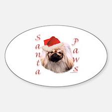 Santa Paws Pekingese Oval Decal