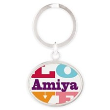 I Love Amiya Oval Keychain