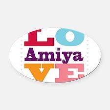 I Love Amiya Oval Car Magnet
