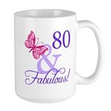 80th birthday Large Mugs (15 oz)