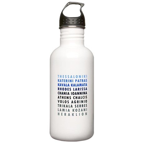 Greek Cities Blue Stainless Water Bottle 1.0L
