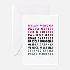 Italian Cities Pink Greeting Cards (Pk of 20)
