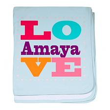 I Love Amaya baby blanket