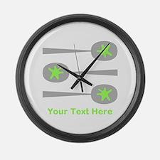 Spoons, Green Custom Text. Large Wall Clock
