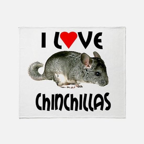 I Love Chinchillas Throw Blanket