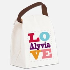 I Love Alyvia Canvas Lunch Bag