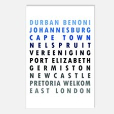 South African Cities Blue Postcards (Package of 8)