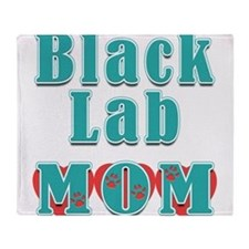 Black Lab Mom Hearts Throw Blanket