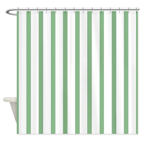 Green And White Thin Stripes Shower Curtain By Stripstrapstripes