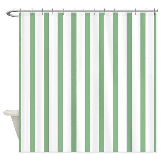 Green And White Thin Stripes Shower Curtain By