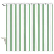 Green and white Thin Stripes Shower Curtain