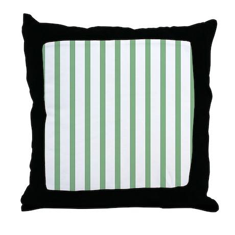 green and white thin stripes throw pillow by stripstrapstripes