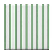 Green and white Thin Stripes Tile Coaster