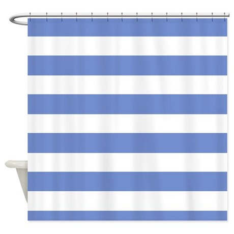 blue and white striped shower curtain by stripstrapstripes