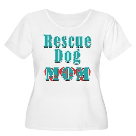 Rescue Dog Mom Hearts Women's Plus Size Scoop Neck