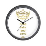Keep calm and carry on Hearts Crown Wall Clock