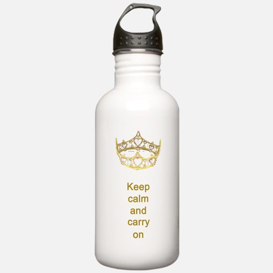 Keep calm and carry on Hearts Crown Sports Water Bottle