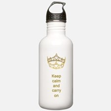 Keep calm and carry on Hearts Crown Water Bottle