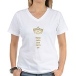 Keep calm and carry on Hearts Crown Women's V-Neck