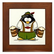 Oktoberfest Boy Penguin Framed Tile
