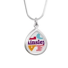 I Love Ainsley Silver Teardrop Necklace