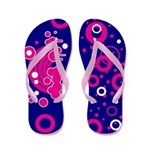 Pink Rainbow and Circles Flip Flops