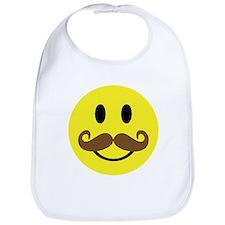 Mustache Smiley Face Bib