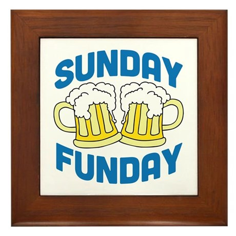 Sunday Funday Drinking Shirt Framed Tile