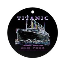 Titanic Black Neon Ornament (Round)