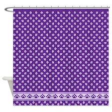 Pawprints Shower Curtain Purple w/Lt Purple Prints