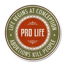Life Begins At Conception Round Car Magnet