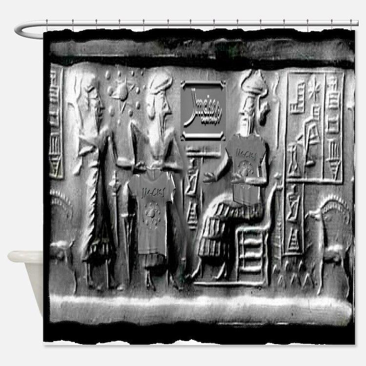 summerian tablet art illustration Shower Curtain