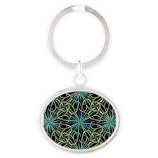 Abstract Fireworks Oval Keychain